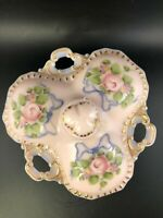 Cambridge Pink Milk Glass 3 Part Covered Candy Relish Charleton Roses & Bows