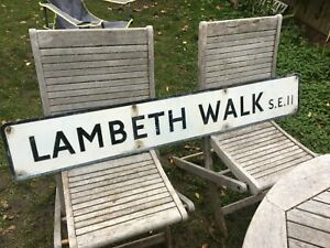 VINTAGE 50's LONDON STREET ROAD SIGN DOING THE LAMBETH WALK SE11 ME AND MY GIRL