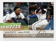 2018 Topps Now Ozzie Albies & Ronald Acuna #222 Rookie Duo Powers Braves Win