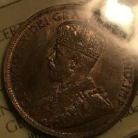 1915 CANADA LARGE 1 CENT COIN - ICCS Certified MS-62 Red and Brown