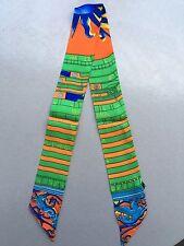 The Math Symbol Print Pony Tail Scarf, Green Theme -- 100%  Silk Twill