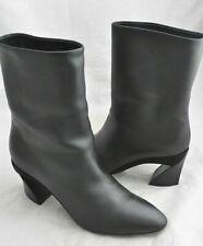 Salvatore Ferragamo 'Amatea' Women's Black Leather Heeled Boots Size 8.5 M