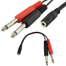 "20cm 3.5mm Stereo Female Sockets to 2x TWIN 6.35mm 1/4"" Mono Plugs Splitter"