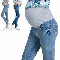 Elegant Maternity Skinny Denim Trousers Pregnancy Jeans Pants Over Bump UK 6-14
