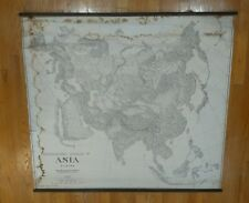 Vintage Physiographic Relief Map of Asia/Europe 1945 black and white wall Lobeck