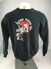 Jerzees Brand Youth Large TAE KWON DO black crewneck Puffy graphic sweater USA