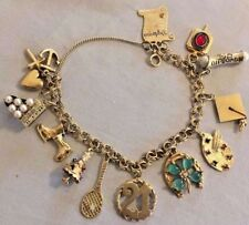 Gorgeous Vintage 14k Gold Charm Bracelet with 12 Charms