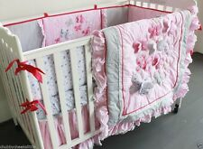 7pcs Baby Crib Cot Bedding Sets Quilt Bumpers fitted Sheet Dust Ruffle Pink\\