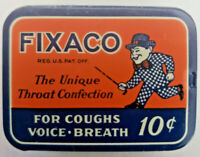 Vintage 1939 Fixaco Medicine Tin Cough Voice Breath Confection New Old Stock