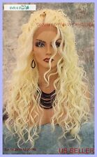 SWISS LACE FRONT DEEP LACE PART LONG CURLY HEAT FRIENDLY WIG COLOR 613  SEXY 246