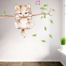 Cat butterfly tree branch wall stickers kids room home decoration wall dec C ZN