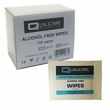 Qualicare First Aid 100% Alcohol Free Skin Safe Would Cleansing Box of 100 Wipes