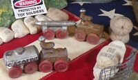 Lot of 4 Vintage Barclay Manoil Toys 2 Tractors Gasoline and Torpedo Carts!!!