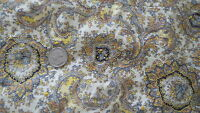 """Antique Cotton Quilt Backing Fabric Pc YELLOW & BLACK PAISLEY ON WHITE 78""""X70"""""""