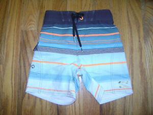 BILLABONG RECYCLER Boys Surf Swim Shorts Trunks size 4 T GRAY BLUE ORANGE STRIPE