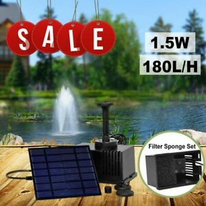Solar Powered Fountain Submersible Water Pump With Filter Panel Small Pond Pool