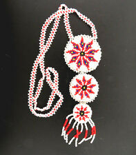 Southwestern Red and White Beaded Medallion Necklace