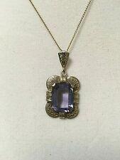 Antique Necklace Early 1900s Filigree Pendant with Large Amethyst or Glass Stone