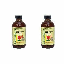 2 x Child Life Multi Vitamin & Mineral 8 oz Natural Orange/Mango Flavor, FRESH