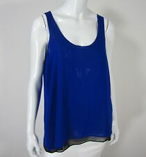 Aqua NWT Sleeveless Blouse Size L Large Scoop Neckline Black Blue Lace