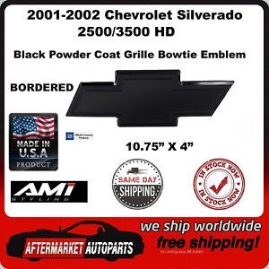 2001-2002 Silverado 2500/3500 Black Bordered Bowtie Grille Emblem AMI 96151K