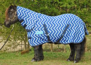 "*CLEARANCE* MAXIMA BLUE ZIGZAG COMBO HORSE FLEECE RUG - SUPER SOFT 3'0"""
