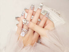 New 3D Lady French Wedding Party Diamond Show Glitter False Tips Fake Nails N058