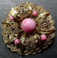 vintage art deco retro bubblegum pink glass flower gold tone brooch -C879