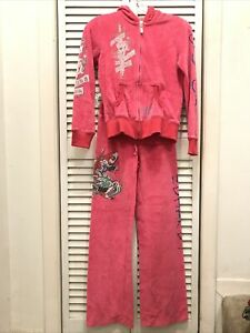 Ed Hardy Death Defore Dishonor Women's Pink Velour Hoodie Tracksuit Small
