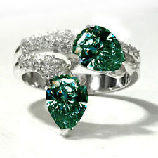 3.51ct VVS1;=GIFT WHITE BLUE MOISSANITE DIAMOND PEAR CUT WHITE .925 SILVER RING-
