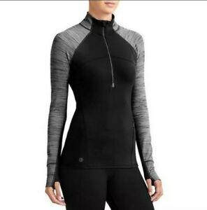 ATHLETA Running Wild 2.0 Black Half Zip Long Sleeve Pullover Baselayer Top XS