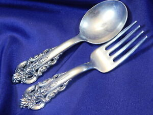 WALLACE GRANDE BAROQUE STERLING SILVER BABY SPOON & BABY FORK - VERY GOOD COND