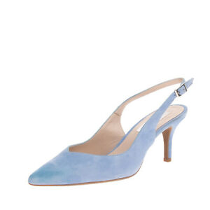 MARIAN Suede Leather Slingback Shoes EU 39 UK 6 US 9 Heel Pointed Toe Pin Buckle