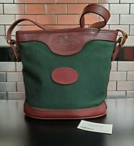 JW Hulme Bucket Bag in Brown/Green - Canvas w Leather Trim Book Messenger Carry