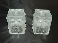 Weil Crystal Czechoslovakia Pair of Frosted Candlesticks Holders