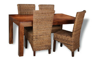 DARK DAKOTA MANGO DINING TABLE WITH 4 RATTAN CHAIRS (CHOOSE FROM 3 STYLES) (30N)