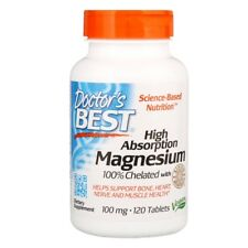 Doctor's Best, 100% Chelated Magnesium Glycinate x 120 Tablets