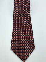 Brooks Brothers Makers Blue Red Geometric Pattern Tie - Vtg All Silk USA Necktie