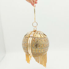 Round Gold Crystal Tassel Wristlets Bag Clutch Purse Evening Party Totes Handbag