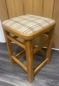Vintage Retro 1950's Kitchen Stool Fabric Seat Beech Mid Century