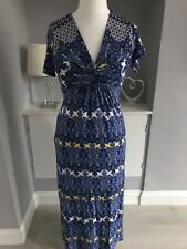 M&S Per Una Blue Mosaic Print Long Fit & Flare Dress Size 12