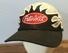 Peterbilt Flame Trucker Hat Black Silver Embroidered Snapback Cyrk
