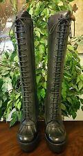 New Polo Ralph Lauren Lace Up Calf Skin Boots Sz 37.5 (Sz 7.5 Women's) Black