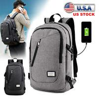 Anti-theft Rucksack USB Charging Port Backpack Laptop Notebook Travel School Bag