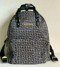NEW! TOMMY HILFIGER BLACK WHITE NATURAL TRAVEL BACKPACK BAG PURSE $109 SALE