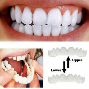 Snap On False Teeth Upper & Lower Dental Veneers Dentures Tooth Cover Set FR