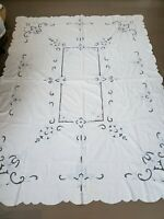 Vintage White tablecloth Blue trim large napkins rectangular Country