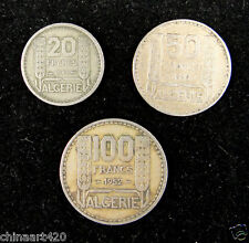 French Algeria Coins Set of 3 Pieces 1949 & 1952