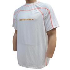 Oakley IRON GRID T-shirt Size L Large White Orange Regular Fit Mens Tee
