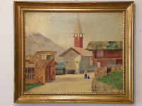 'THE VILLAGE CHAPEL' by John Carmody Vintage Oil Painting
